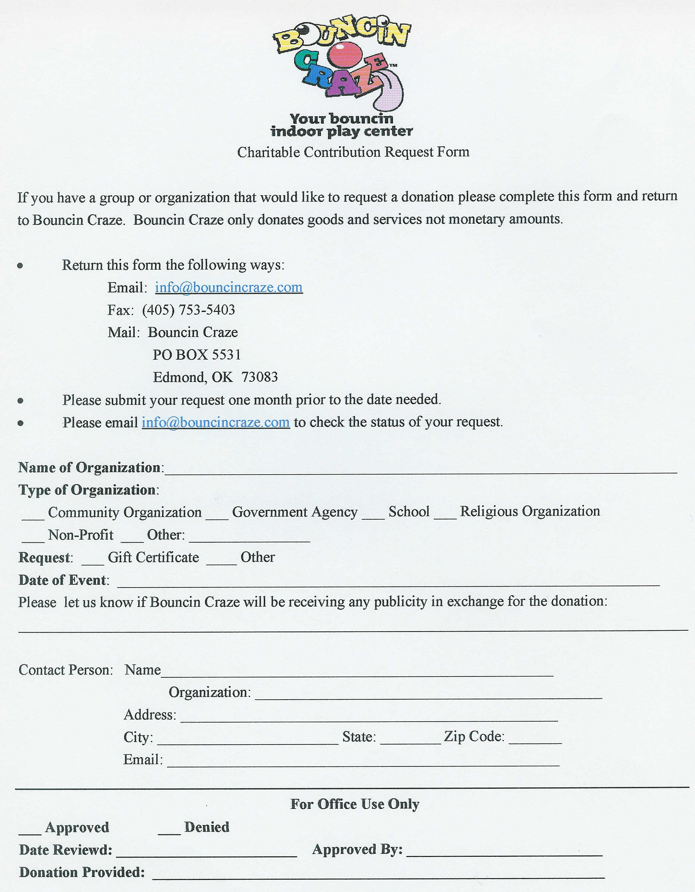 Bouncin Craze Community Support – Donation Request Form